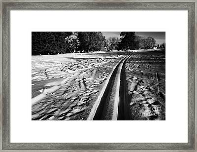 cross country skiing tracks in kinsmen park Saskatoon Saskatchewan Canada Framed Print by Joe Fox