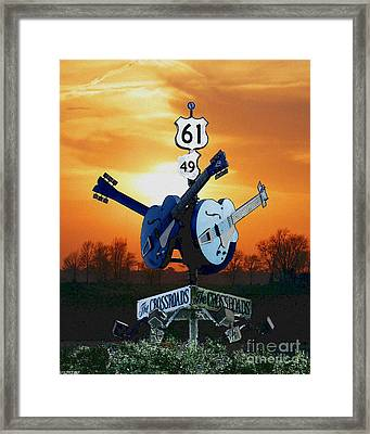Crossroads Sunset  Blues Highway 61 Framed Print