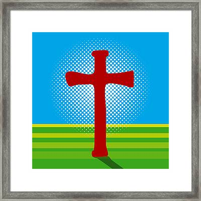 Crucifix And Light Framed Print by Alain De Maximy