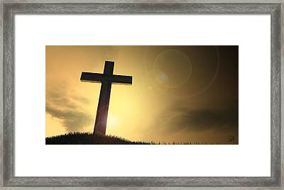 Crucifix On A Hill At Dawn Framed Print by Allan Swart