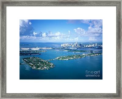 Cruise Boats Quay At Back, Miami Framed Print