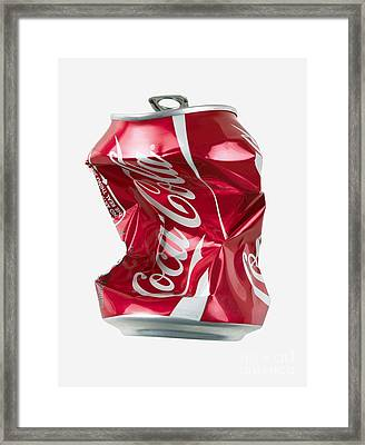 Crushed Coca Cola Can Cut-out Framed Print by Mark Sykes