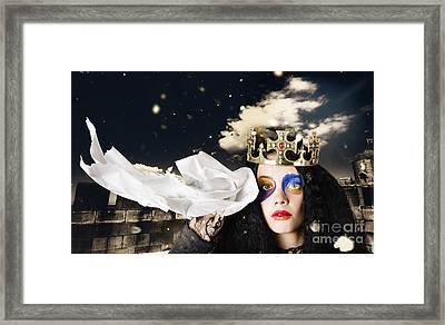 Crying Fairytale Queen Wiping Tears With Tissue Framed Print