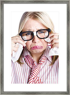 Crying Nerdy Businesswoman Framed Print