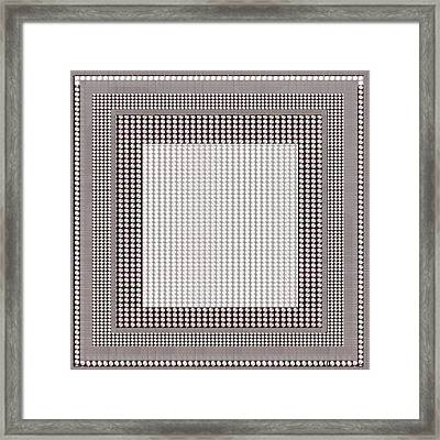 Crystal White And Gray Dots Design Pattern Shade Deco Decoration Framed Print