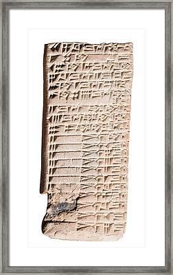 Cuneiform Clay Tablet Framed Print by Photostock-israel