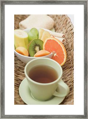 Cup Of Tea, Fresh Fruit And Towel In Basket Framed Print