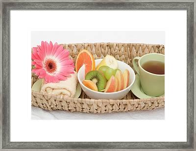 Cup Of Tea, Fresh Fruit, Towel And Flower In Basket Framed Print
