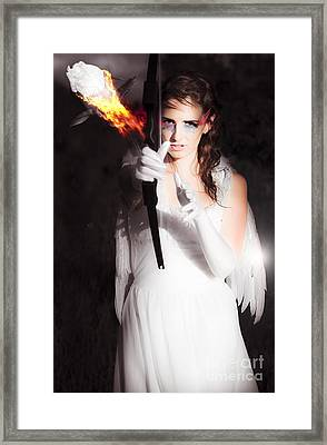 Cupid Angel Of Romance Setting Hearts On Fire Framed Print by Jorgo Photography - Wall Art Gallery