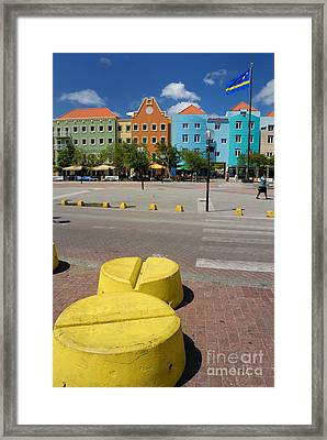 Curacaos Colorful Architecture Framed Print by Amy Cicconi