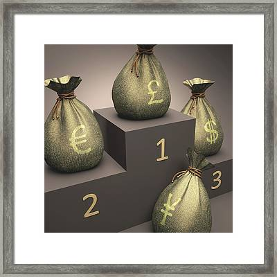 Currencies On A Podium Framed Print by Ktsdesign