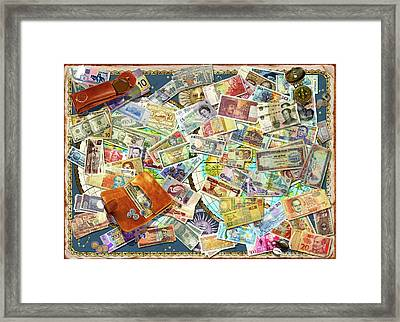 Currency Map Framed Print by Garry Walton