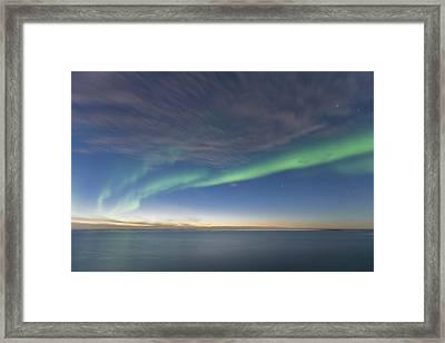 Curtains Of Green Aurora Borealis Dance Framed Print by Hugh Rose