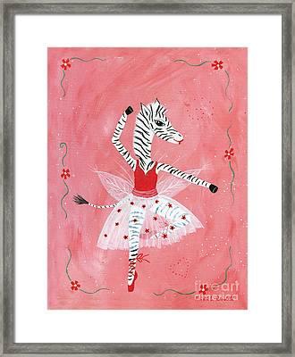 Custom Child's Zebra Ballerina Framed Print by Kristi L Randall
