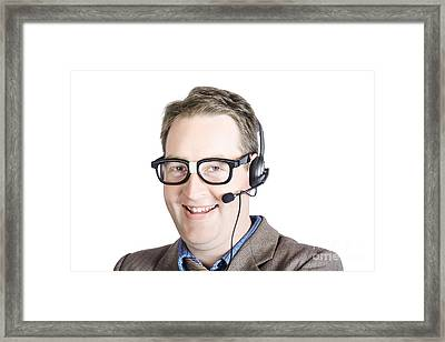 Customer Support Male Executive Framed Print by Jorgo Photography - Wall Art Gallery