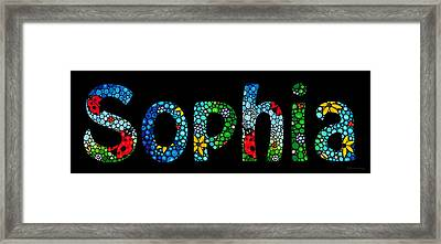 Customized Baby Kids Adults Pets Names - Sophia Name Framed Print by Sharon Cummings