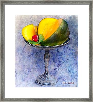 Framed Print featuring the photograph Cut Mango On Sterling Silver Dish by Gunter Nezhoda