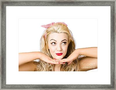 Cute 1960s Pin-up Lady With Cosmetic Thought Framed Print by Jorgo Photography - Wall Art Gallery