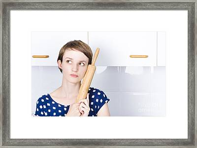 Cute Bakery Girl Holding Rolling Pin In Thought Framed Print