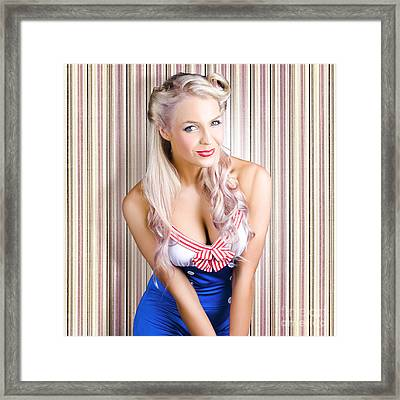 Cute Blonde Pin-up Girl With Cheeky Smile Framed Print by Jorgo Photography - Wall Art Gallery