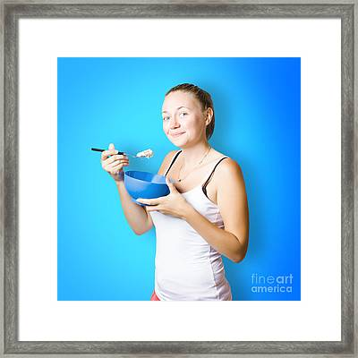 Cute Female Lifestyle Model With Oats And Porridge Framed Print