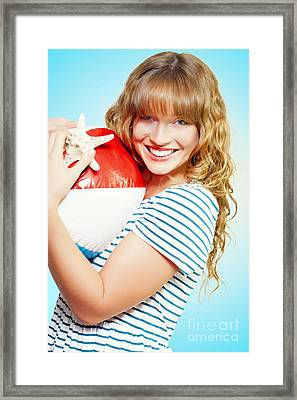 Cute Girl On A Tropical Summer Vacation Framed Print by Jorgo Photography - Wall Art Gallery