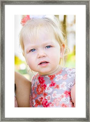 Cute Little Girl With Surprised And Shocked Face Framed Print by Jorgo Photography - Wall Art Gallery
