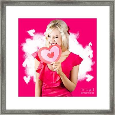 Cute Love Hungry Girl Eating Big Red Heart Framed Print