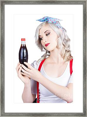 Cute Pin Up Girl With Soda Bottle. Vintage Cafe Framed Print by Jorgo Photography - Wall Art Gallery