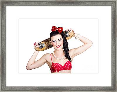 Cute Pinup Skater Girl In Punk Glam Fashion Framed Print by Jorgo Photography - Wall Art Gallery