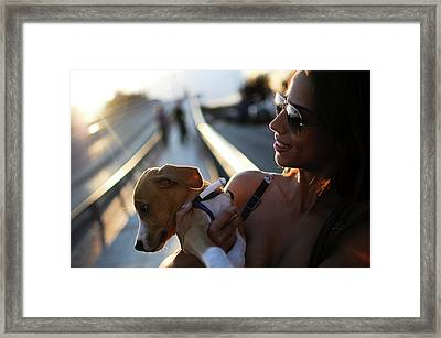 Cute Puppy With Attractive Woman Framed Print