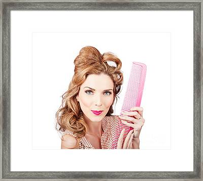 Cute Retro Female Hairdresser With Big Hair Comb Framed Print