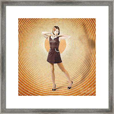 Cute Retro Pinup Girl In Time Warp. Tattoo Design Framed Print by Jorgo Photography - Wall Art Gallery