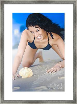 Cute Sand Woman Framed Print by Jorgo Photography - Wall Art Gallery
