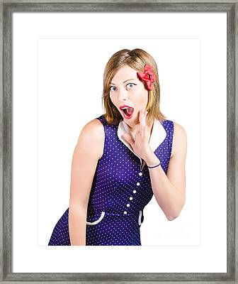 Cute Shocked Girl With Pinup Make-up And Hairstyle Framed Print by Jorgo Photography - Wall Art Gallery