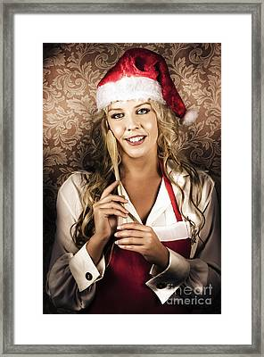 Cute Vintage Housewife Cooking Christmas Meal Framed Print by Jorgo Photography - Wall Art Gallery