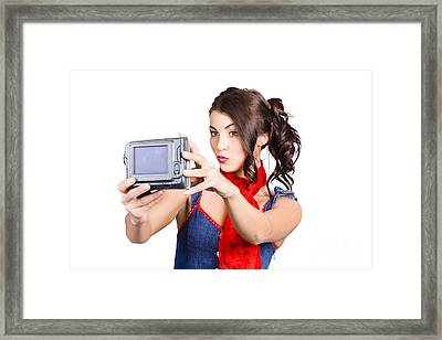 Cute Woman Filming Tutorial With Video Camera Framed Print by Jorgo Photography - Wall Art Gallery