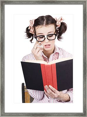 Cute Woman Reading Romance Novel Over White Framed Print by Jorgo Photography - Wall Art Gallery