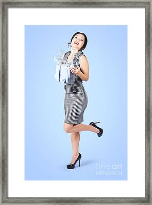Cute Young Pinup Housewife Cleaning On Blue Framed Print by Jorgo Photography - Wall Art Gallery