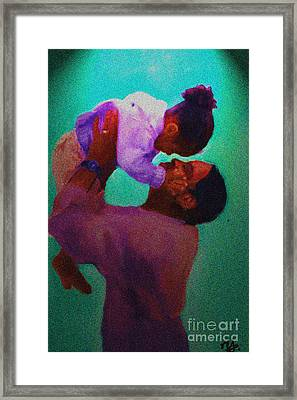 Framed Print featuring the painting Daddys' Little Girl by Vannetta Ferguson