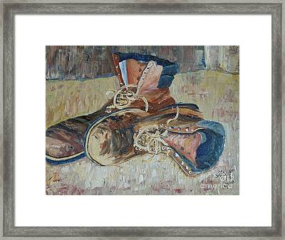 Dad's Work Shoes Framed Print by Judith Espinoza