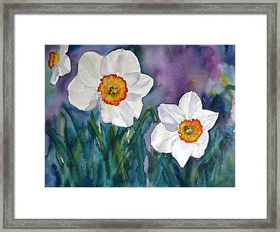 Framed Print featuring the painting Daffodil Dream by Anna Ruzsan