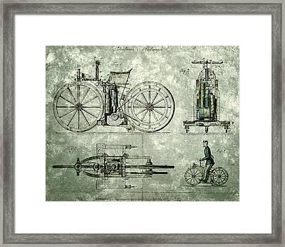 Daimler Reitwagen Color Drawing 1885 D Patent  Framed Print by Celestial Images