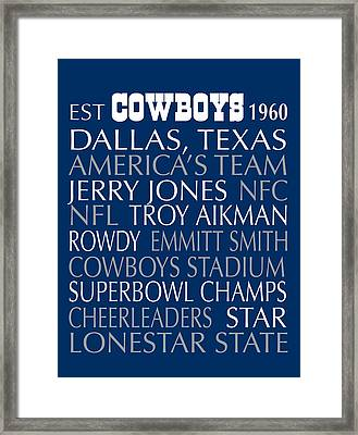 Dallas Cowboys Framed Print by Jaime Friedman