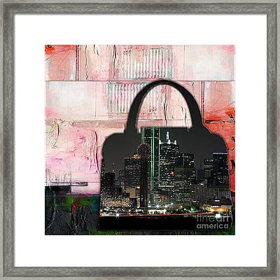 Dallas Texas Skyline In A Purse Framed Print by Marvin Blaine