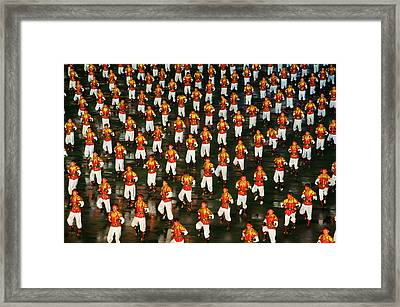 Dancers And Acrobats At Arirang Framed Print by Michael Runkel