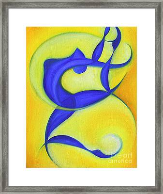 Dancing Sprite In Yellow And Blue Framed Print by Tiffany Davis-Rustam