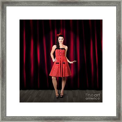 Dancing Woman Wearing Retro Rockabilly Dress  Framed Print by Jorgo Photography - Wall Art Gallery