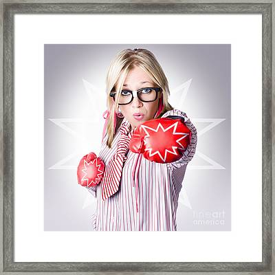Dangerous Female Worker Punching With Great Force Framed Print by Jorgo Photography - Wall Art Gallery
