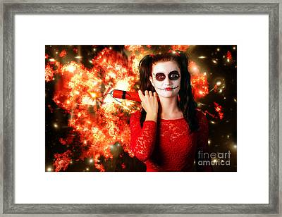 Dangerous Sugarskull Bomber Holding Dynamite Framed Print by Jorgo Photography - Wall Art Gallery